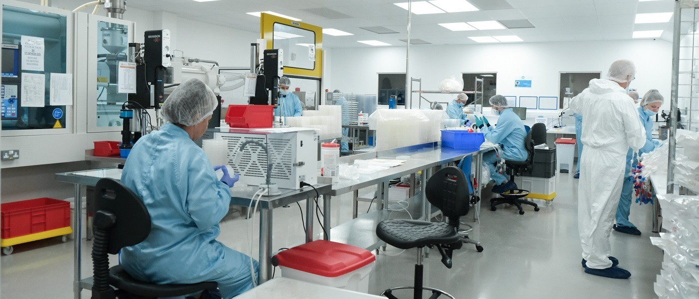 Europlaz staff in cleanroom assembly process